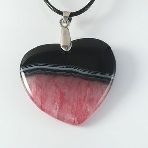 Red & Black Druzy Agate Geode Heart Necklace